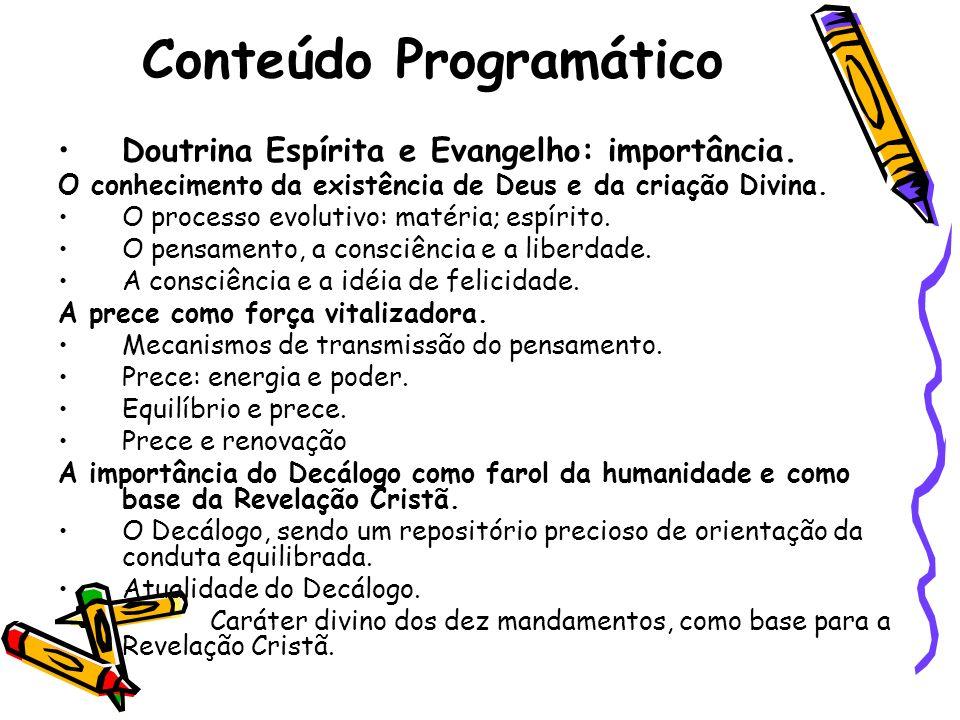 Conteúdo Programático Doutrina Espírita e Evangelho: importância. O conhecimento da existência de Deus e da criação Divina. O processo evolutivo: maté
