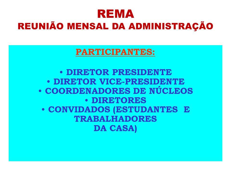 REMA REUNIÃO MENSAL DA ADMINISTRAÇÃO PARTICIPANTES: DIRETOR PRESIDENTE DIRETOR VICE-PRESIDENTE COORDENADORES DE NÚCLEOS DIRETORES CONVIDADOS (ESTUDANT