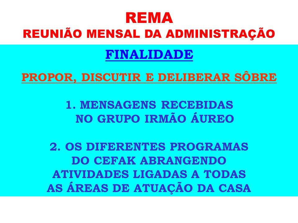 REMA REUNIÃO MENSAL DA ADMINISTRAÇÃO REÚNE-SE MENSALMENTE, NO ÚLTIMO SÁBADO, DE 14h às 16h. PARTICIPANTES: DIRETOR PRESIDENTE DIRETOR VICE-PRESIDENTE