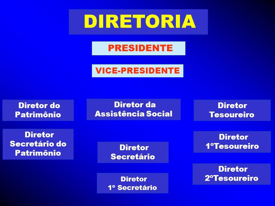 DIRETORIA PRESIDENTE VICE-PRESIDENTE Diretor do Patrimônio Diretor 1º Secretário Diretor Secretário Diretor Tesoureiro Diretor 1ºTesoureiro Diretor da