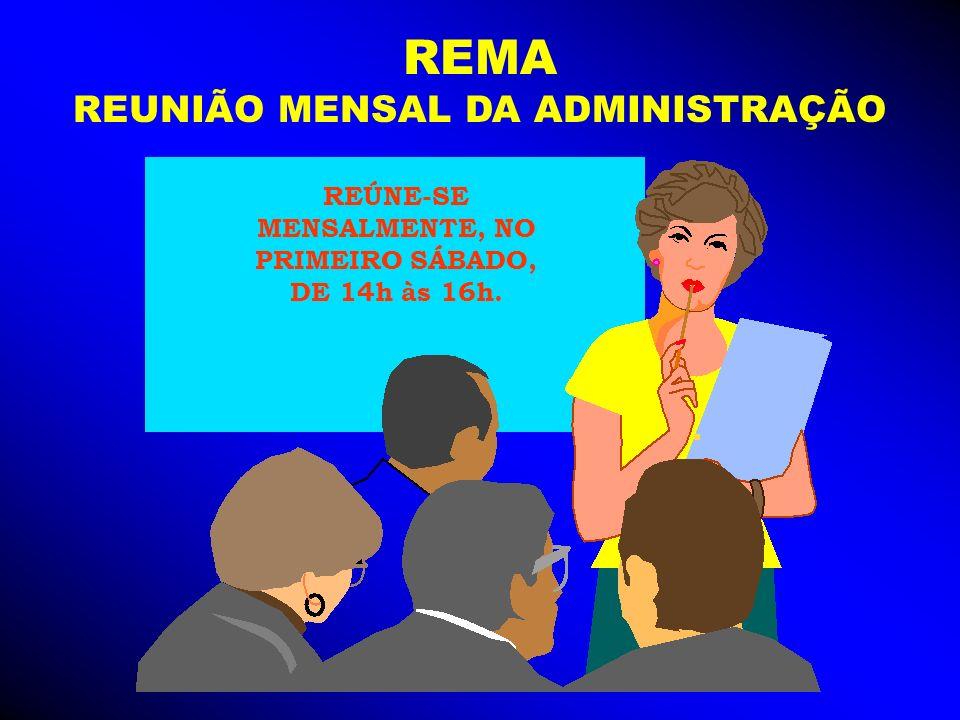 REMA REUNIÃO MENSAL DA ADMINISTRAÇÃO REÚNE-SE MENSALMENTE, NO PRIMEIRO SÁBADO, DE 14h às 16h.