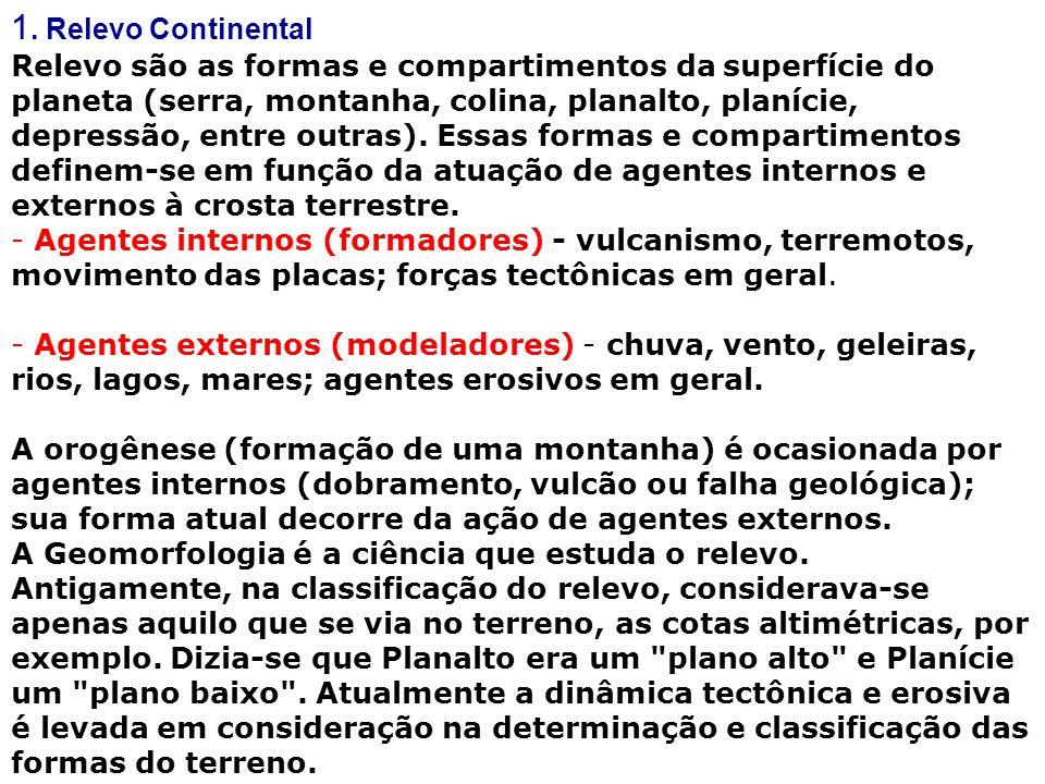 1. Relevo Continental Relevo são as formas e compartimentos da superfície do planeta (serra, montanha, colina, planalto, planície, depressão, entre ou