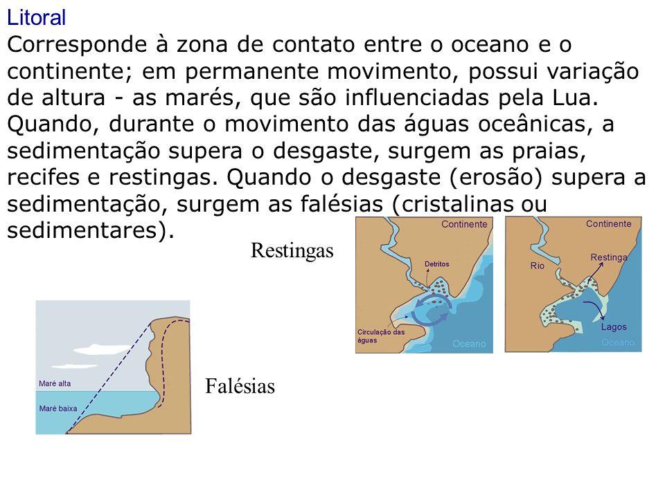 Litoral Corresponde à zona de contato entre o oceano e o continente; em permanente movimento, possui variação de altura - as marés, que são influencia