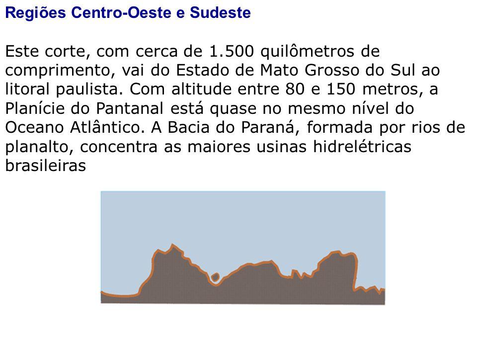 Regiões Centro-Oeste e Sudeste Este corte, com cerca de 1.500 quilômetros de comprimento, vai do Estado de Mato Grosso do Sul ao litoral paulista. Com
