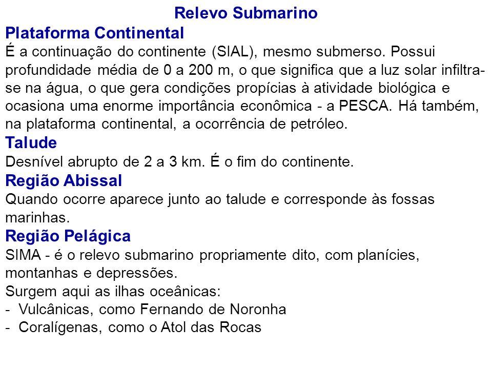 Relevo Submarino Plataforma Continental É a continuação do continente (SIAL), mesmo submerso. Possui profundidade média de 0 a 200 m, o que significa