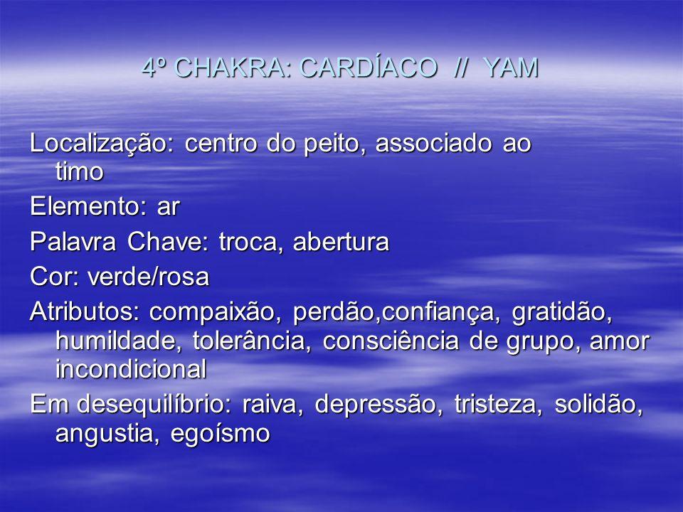 4º CHAKRA: CARDÍACO // YAM Localização: centro do peito, associado ao timo Elemento: ar Palavra Chave: troca, abertura Cor: verde/rosa Atributos: comp