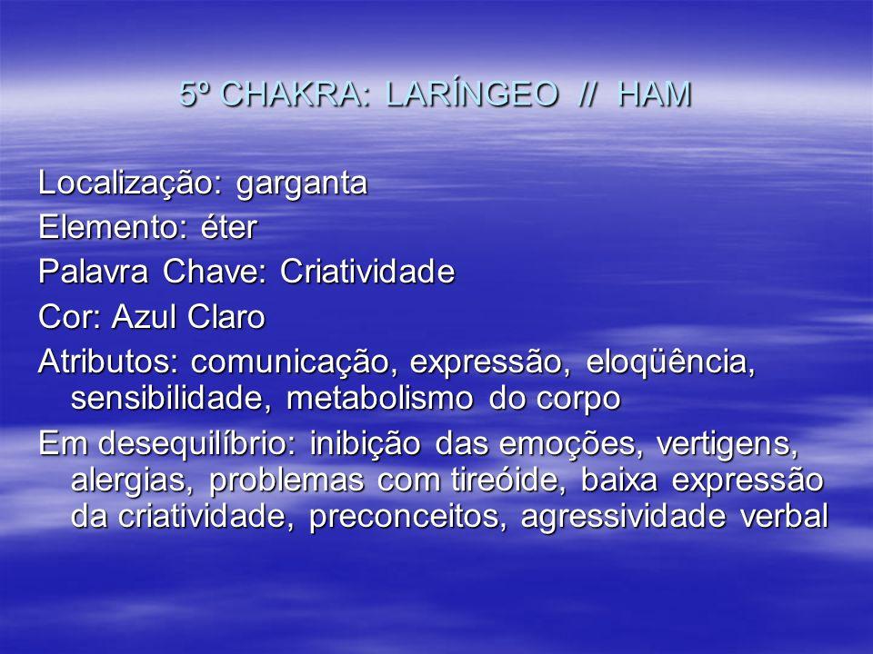 5º CHAKRA: LARÍNGEO // HAM Localização: garganta Elemento: éter Palavra Chave: Criatividade Cor: Azul Claro Atributos: comunicação, expressão, eloqüên