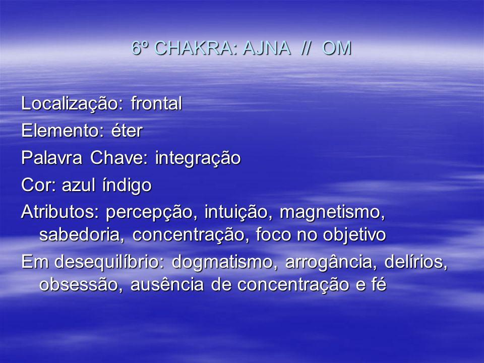 6º CHAKRA: AJNA // OM Localização: frontal Elemento: éter Palavra Chave: integração Cor: azul índigo Atributos: percepção, intuição, magnetismo, sabed