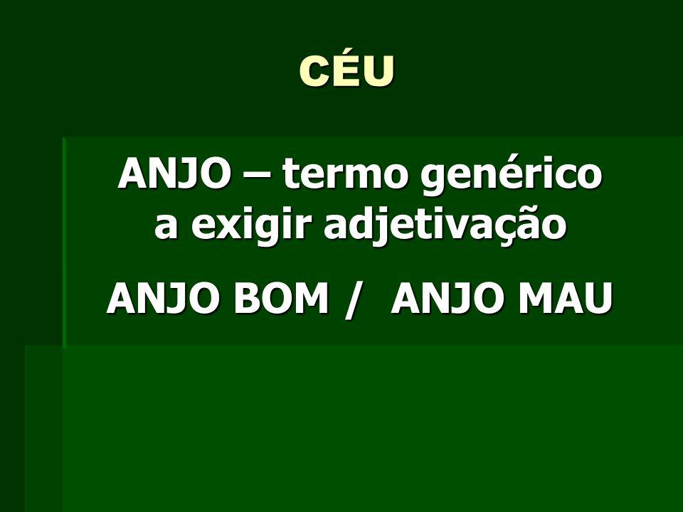 CÉU ANJO – termo genérico a exigir adjetivação ANJO BOM / ANJO MAU