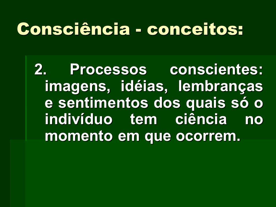 Consciência - conceitos: 2. Processos conscientes: imagens, idéias, lembranças e sentimentos dos quais só o indivíduo tem ciência no momento em que oc