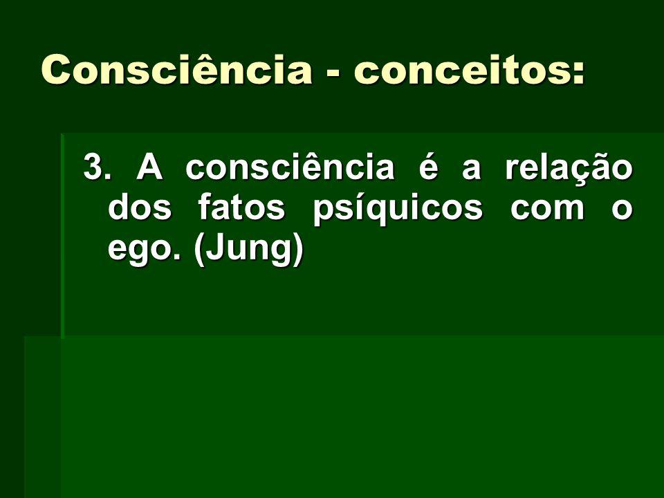 Consciência - conceitos: 3. A consciência é a relação dos fatos psíquicos com o ego. (Jung)