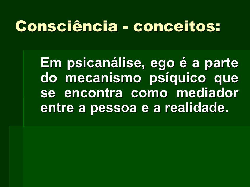 Consciência - conceitos: Em psicanálise, ego é a parte do mecanismo psíquico que se encontra como mediador entre a pessoa e a realidade.