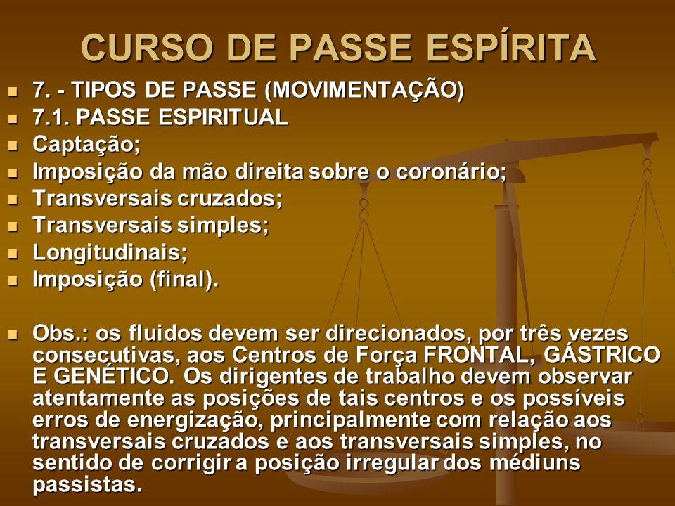 CURSO DE PASSE ESPÍRITA 7. - TIPOS DE PASSE (MOVIMENTAÇÃO) 7. - TIPOS DE PASSE (MOVIMENTAÇÃO) 7.1. PASSE ESPIRITUAL 7.1. PASSE ESPIRITUAL Captação; Ca