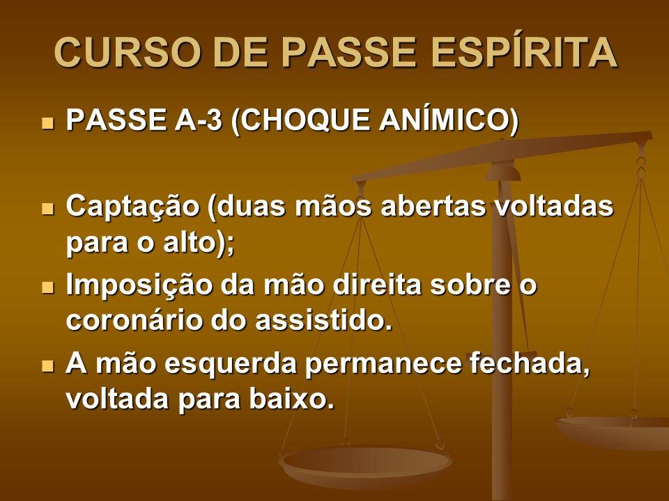 CURSO DE PASSE ESPÍRITA PASSE A-3 (CHOQUE ANÍMICO) PASSE A-3 (CHOQUE ANÍMICO) Captação (duas mãos abertas voltadas para o alto); Captação (duas mãos a