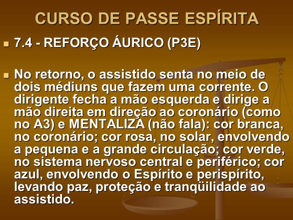 CURSO DE PASSE ESPÍRITA 7.4 - REFORÇO ÁURICO (P3E) 7.4 - REFORÇO ÁURICO (P3E) No retorno, o assistido senta no meio de dois médiuns que fazem uma corr