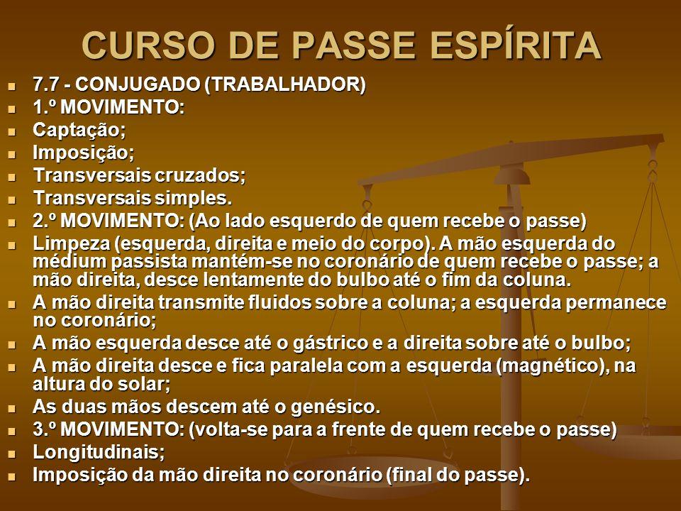 CURSO DE PASSE ESPÍRITA 7.7 - CONJUGADO (TRABALHADOR) 7.7 - CONJUGADO (TRABALHADOR) 1.º MOVIMENTO: 1.º MOVIMENTO: Captação; Captação; Imposição; Imposição; Transversais cruzados; Transversais cruzados; Transversais simples.