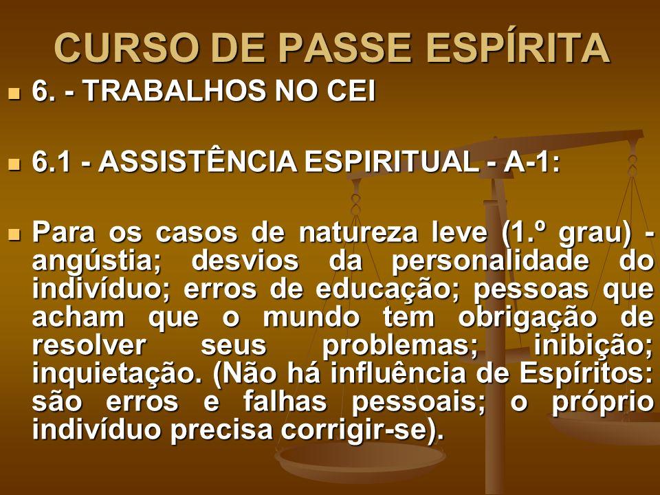 CURSO DE PASSE ESPÍRITA 6. - TRABALHOS NO CEI 6. - TRABALHOS NO CEI 6.1 - ASSISTÊNCIA ESPIRITUAL - A-1: 6.1 - ASSISTÊNCIA ESPIRITUAL - A-1: Para os ca