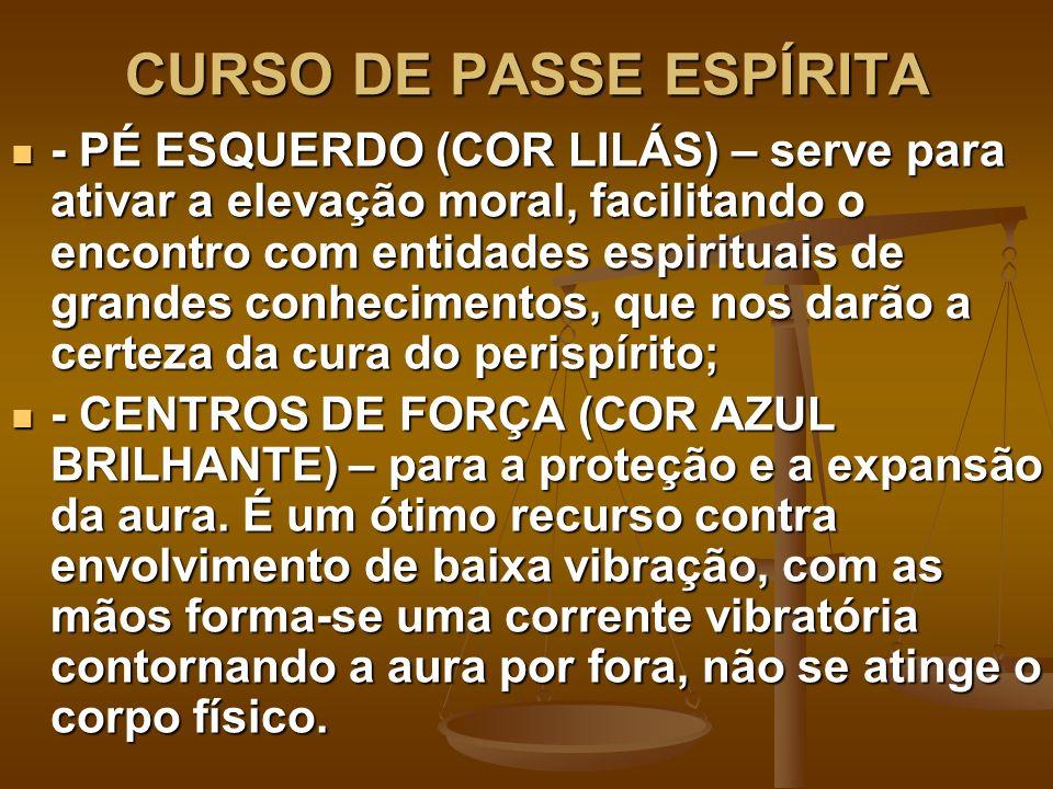 CURSO DE PASSE ESPÍRITA - PÉ ESQUERDO (COR LILÁS) – serve para ativar a elevação moral, facilitando o encontro com entidades espirituais de grandes co