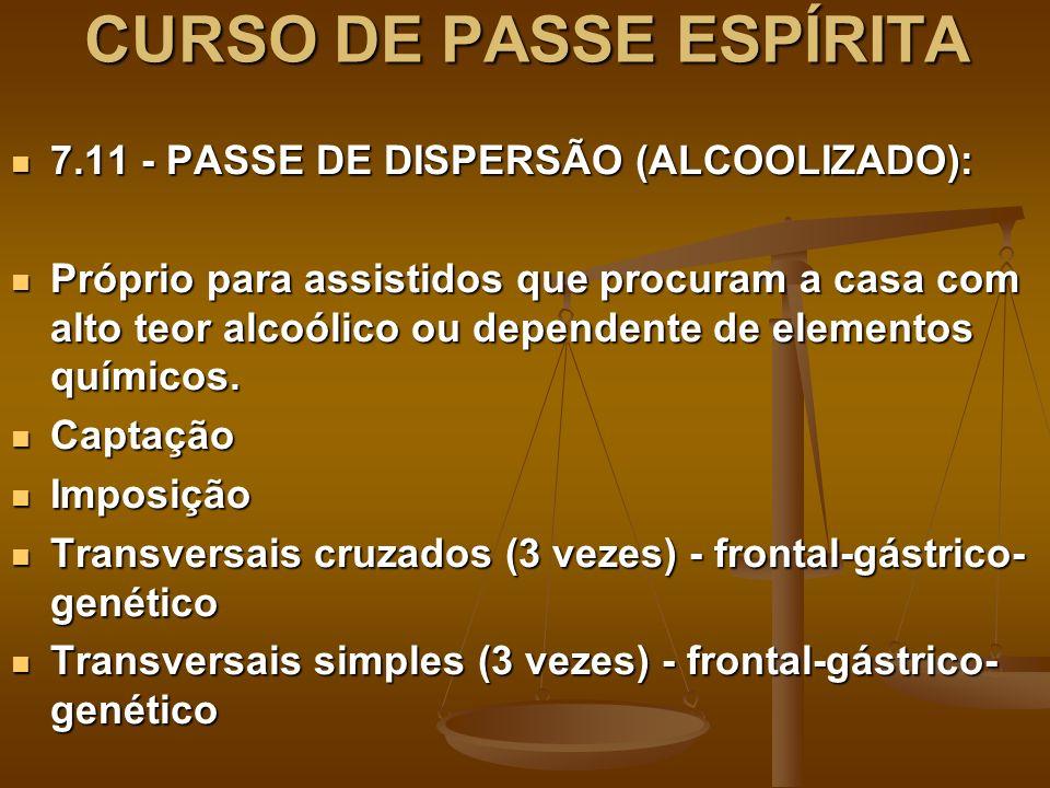 CURSO DE PASSE ESPÍRITA 7.11 - PASSE DE DISPERSÃO (ALCOOLIZADO): 7.11 - PASSE DE DISPERSÃO (ALCOOLIZADO): Próprio para assistidos que procuram a casa com alto teor alcoólico ou dependente de elementos químicos.