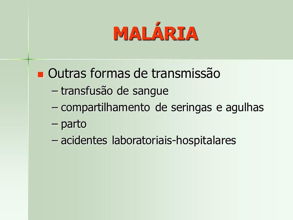 MALÁRIA Outras formas de transmissão Outras formas de transmissão –transfusão de sangue –compartilhamento de seringas e agulhas –parto –acidentes labo