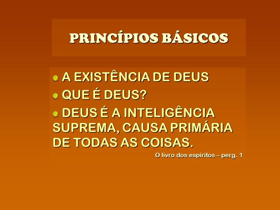 PRINCÍPIOS BÁSICOS A EXISTÊNCIA DE DEUS QUE É DEUS? DEUS É A INTELIGÊNCIA SUPREMA, CAUSA PRIMÁRIA DE TODAS AS COISAS. O livro dos espíritos – perg. 1