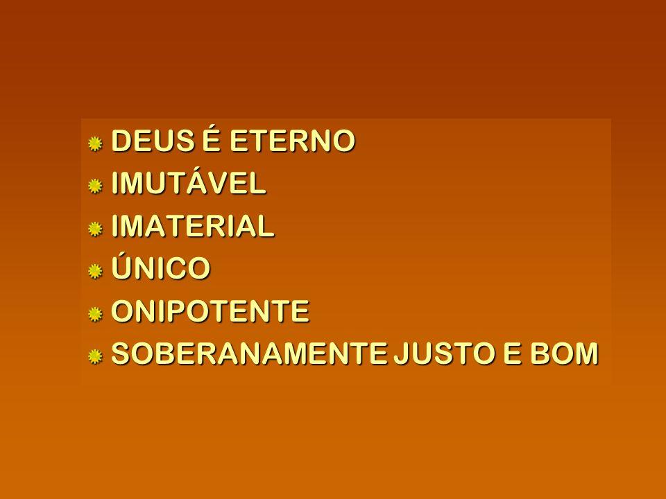DEUS É ETERNO DEUS É ETERNO IMUTÁVEL IMUTÁVEL IMATERIAL IMATERIAL ÚNICO ÚNICO ONIPOTENTE ONIPOTENTE SOBERANAMENTE JUSTO E BOM SOBERANAMENTE JUSTO E BO