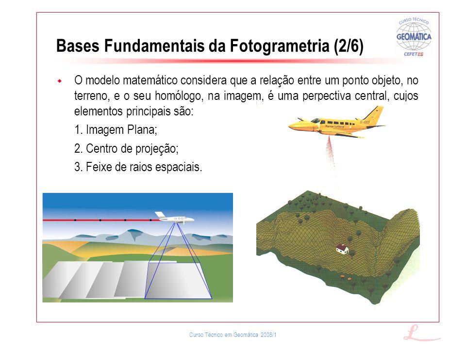 Curso Técnico em Geomática 2006/1 Bases Fundamentais da Fotogrametria (2/6) O modelo matemático considera que a relação entre um ponto objeto, no terr