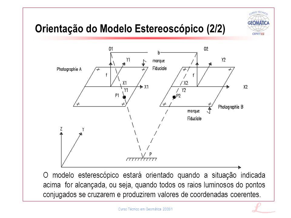 Curso Técnico em Geomática 2006/1 Orientação do Modelo Estereoscópico (2/2) O modelo esterescópico estará orientado quando a situação indicada acima f