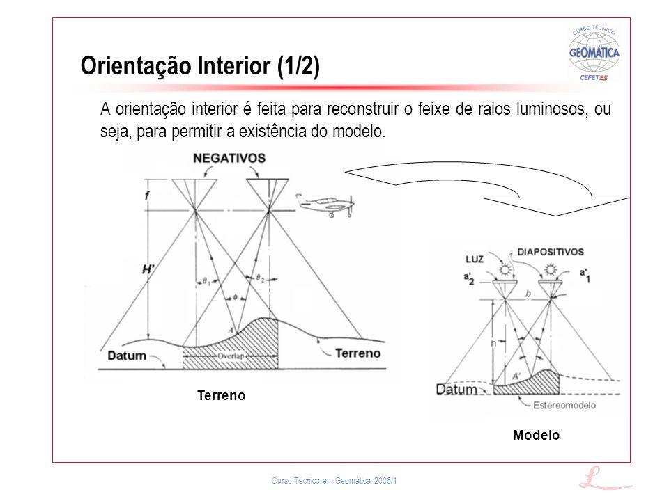 Curso Técnico em Geomática 2006/1 Orientação Interior (1/2) Terreno Modelo A orientação interior é feita para reconstruir o feixe de raios luminosos,