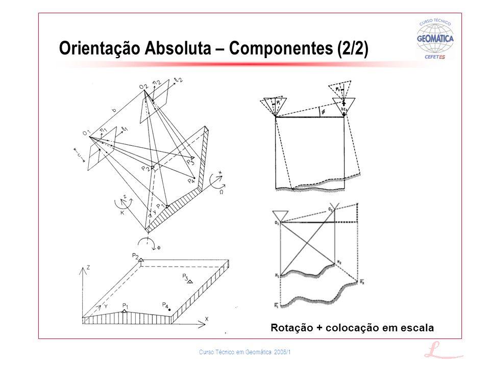 Curso Técnico em Geomática 2006/1 Orientação Absoluta – Componentes (2/2) Rotação + colocação em escala