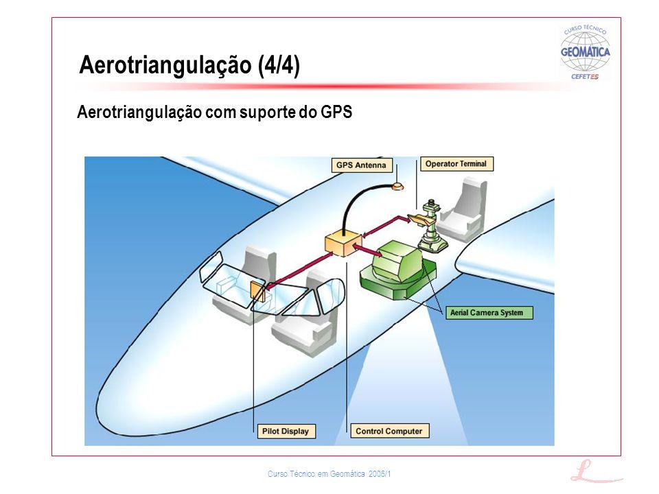 Curso Técnico em Geomática 2006/1 Aerotriangulação (4/4) Aerotriangulação com suporte do GPS