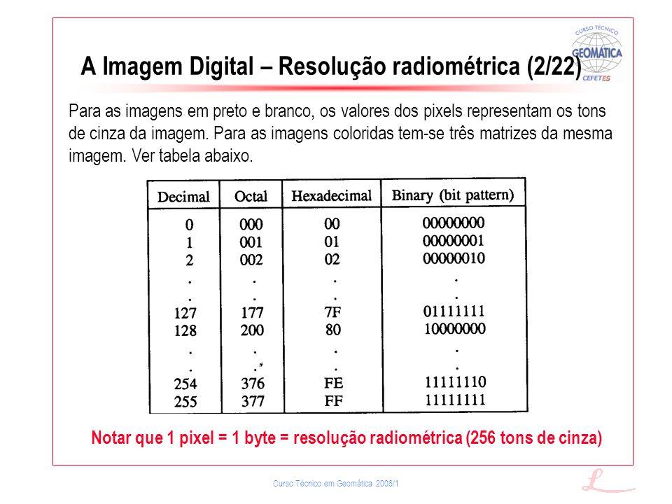 Curso Técnico em Geomática 2006/1 A Imagem Digital – Resolução radiométrica (2/22) Para as imagens em preto e branco, os valores dos pixels representa