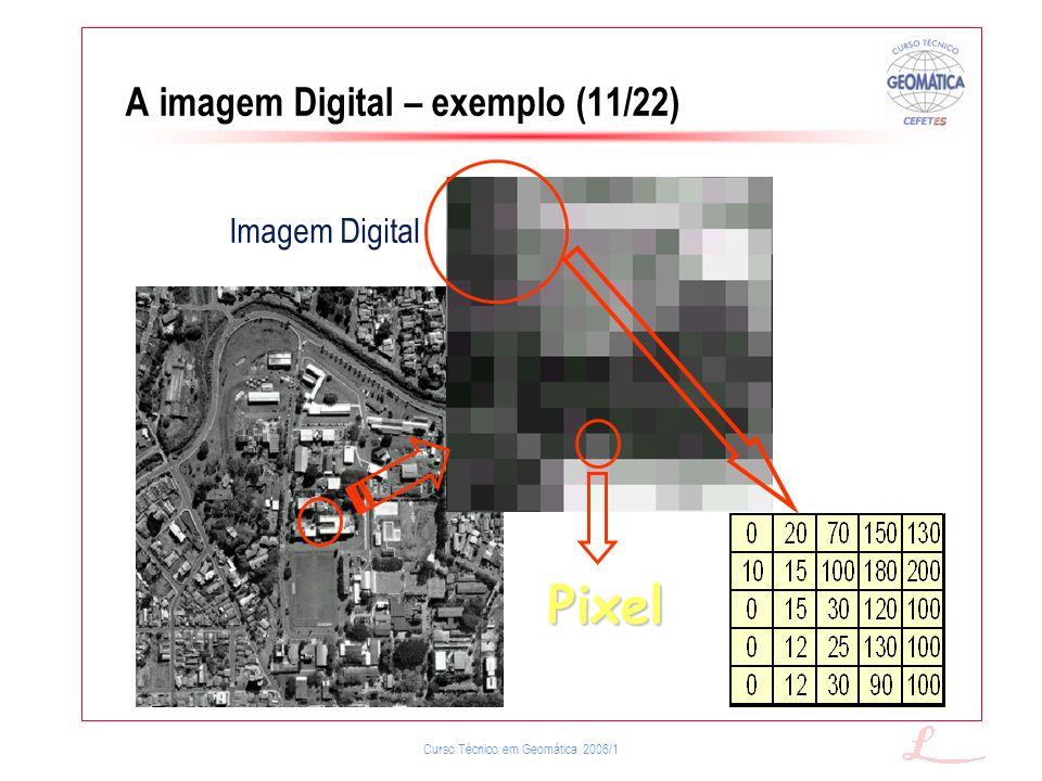 Curso Técnico em Geomática 2006/1 A imagem Digital – exemplo (11/22) Pixel Imagem Digital