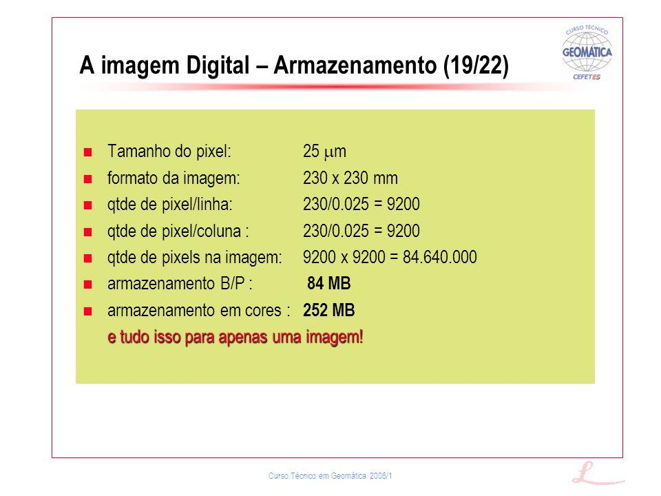 Curso Técnico em Geomática 2006/1 A imagem Digital – Armazenamento (19/22) Tamanho do pixel:25 m formato da imagem:230 x 230 mm qtde de pixel/linha:23