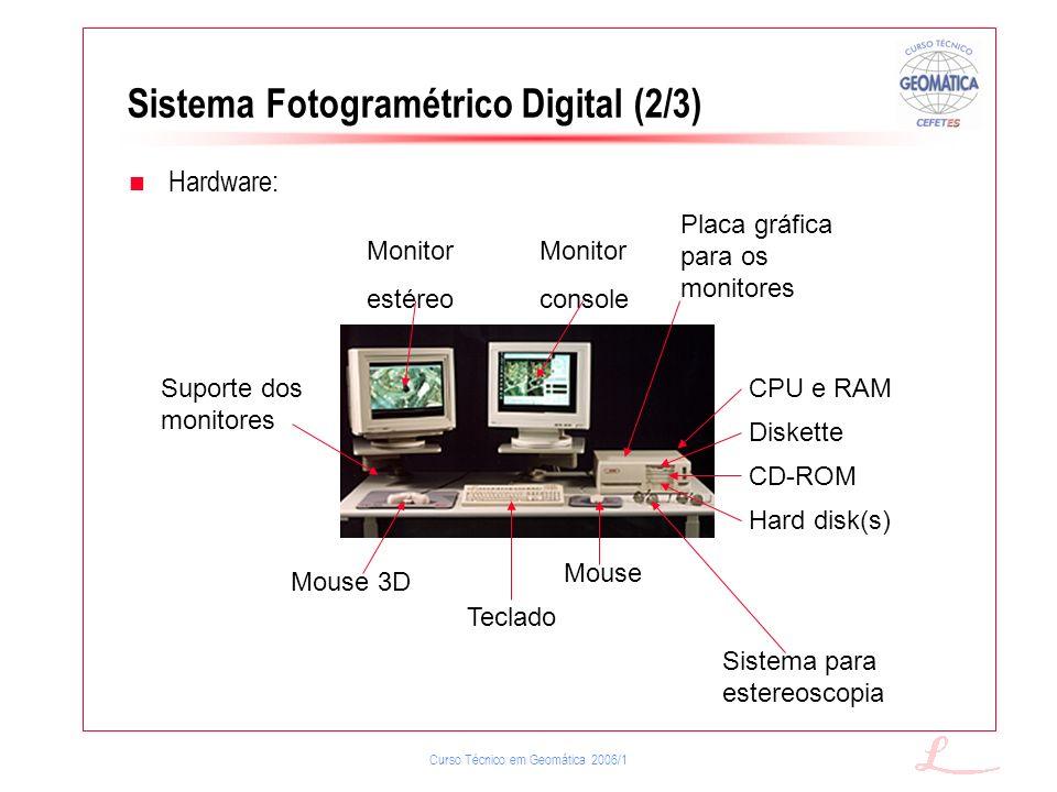 Curso Técnico em Geomática 2006/1 Sistema Fotogramétrico Digital (2/3) Hardware: Monitor estéreo Monitor console Mouse Teclado Sistema para estereosco