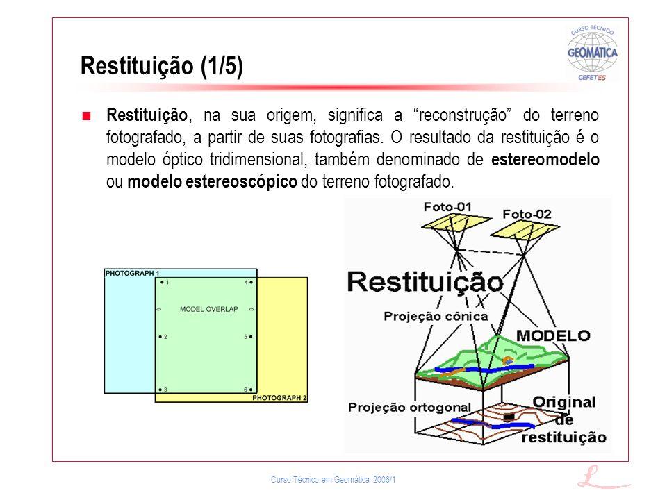 Curso Técnico em Geomática 2006/1 Restituição (1/5) Restituição, na sua origem, significa a reconstrução do terreno fotografado, a partir de suas foto