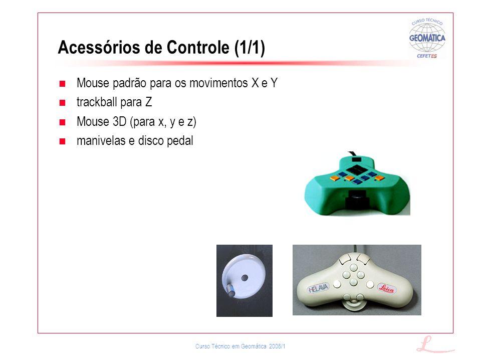 Curso Técnico em Geomática 2006/1 Acessórios de Controle (1/1) Mouse padrão para os movimentos X e Y trackball para Z Mouse 3D (para x, y e z) manivel