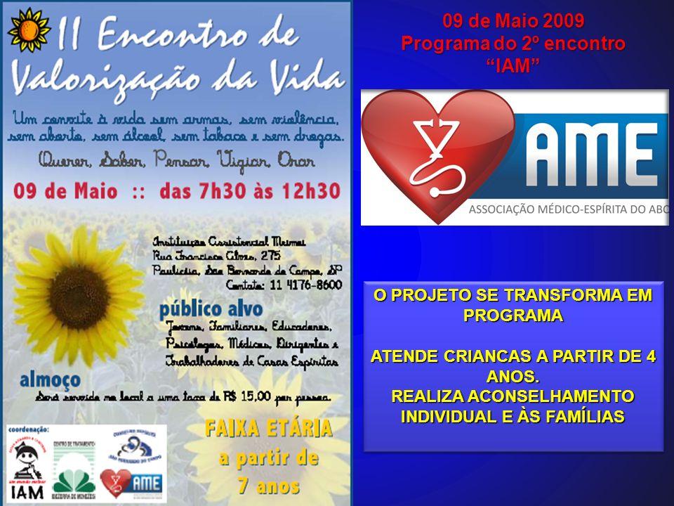 Programa do 2º encontro IAM O PROJETO SE TRANSFORMA EM PROGRAMA ATENDE CRIANCAS A PARTIR DE 4 ANOS. REALIZA ACONSELHAMENTO INDIVIDUAL E ÀS FAMÍLIAS O