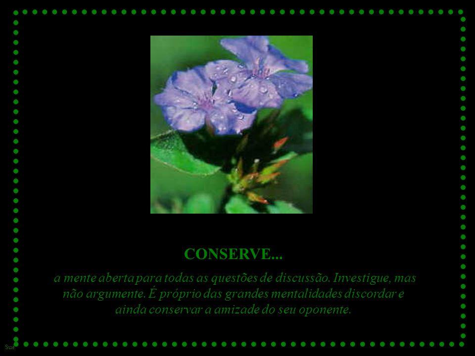 Sue CONSERVE...a mente aberta para todas as questões de discussão.