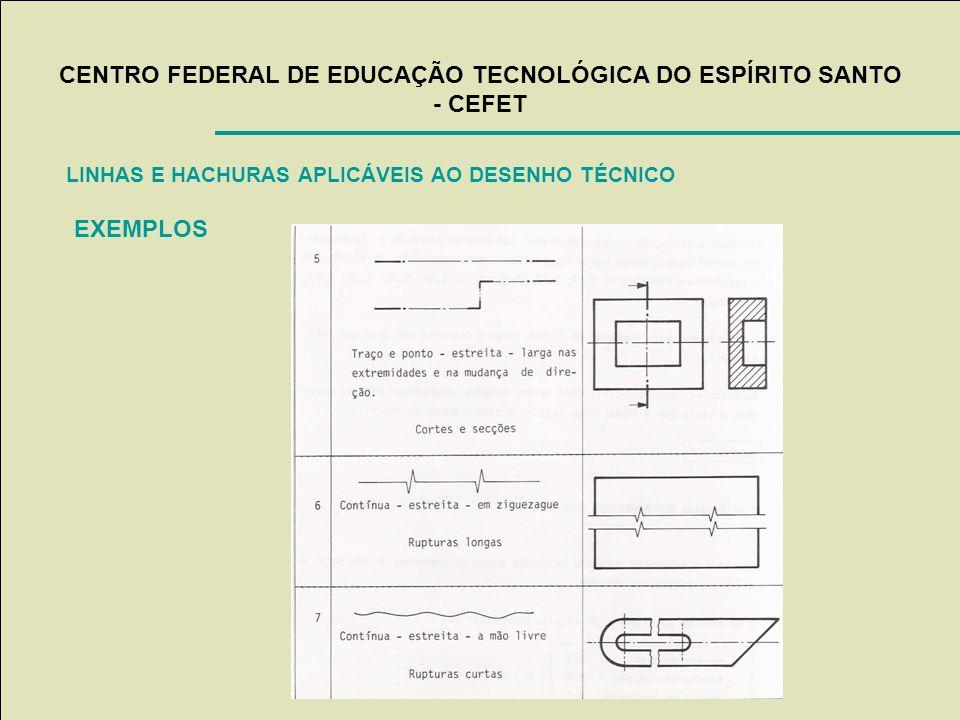 CENTRO FEDERAL DE EDUCAÇÃO TECNOLÓGICA DO ESPÍRITO SANTO - CEFET LINHAS E HACHURAS APLICÁVEIS AO DESENHO TÉCNICO EXEMPLOS