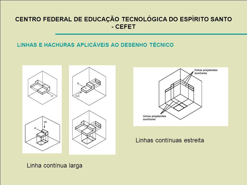 CENTRO FEDERAL DE EDUCAÇÃO TECNOLÓGICA DO ESPÍRITO SANTO - CEFET LINHAS E HACHURAS APLICÁVEIS AO DESENHO TÉCNICO Linha contínua larga Linhas contínuas