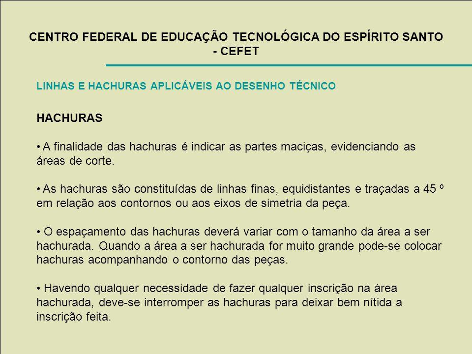 CENTRO FEDERAL DE EDUCAÇÃO TECNOLÓGICA DO ESPÍRITO SANTO - CEFET LINHAS E HACHURAS APLICÁVEIS AO DESENHO TÉCNICO HACHURAS A finalidade das hachuras é