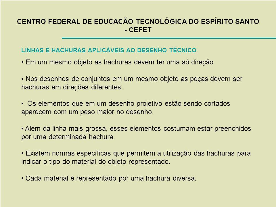 CENTRO FEDERAL DE EDUCAÇÃO TECNOLÓGICA DO ESPÍRITO SANTO - CEFET LINHAS E HACHURAS APLICÁVEIS AO DESENHO TÉCNICO Em um mesmo objeto as hachuras devem