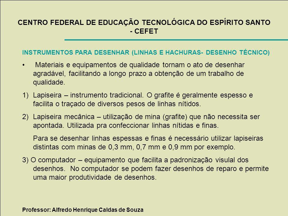 CENTRO FEDERAL DE EDUCAÇÃO TECNOLÓGICA DO ESPÍRITO SANTO - CEFET INSTRUMENTOS PARA DESENHAR (LINHAS E HACHURAS- DESENHO TÉCNICO) Materiais e equipamen