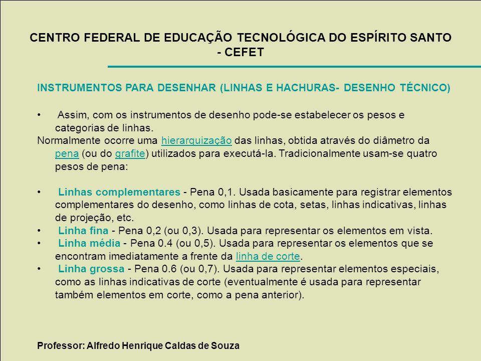 CENTRO FEDERAL DE EDUCAÇÃO TECNOLÓGICA DO ESPÍRITO SANTO - CEFET INSTRUMENTOS PARA DESENHAR (LINHAS E HACHURAS- DESENHO TÉCNICO) Assim, com os instrum