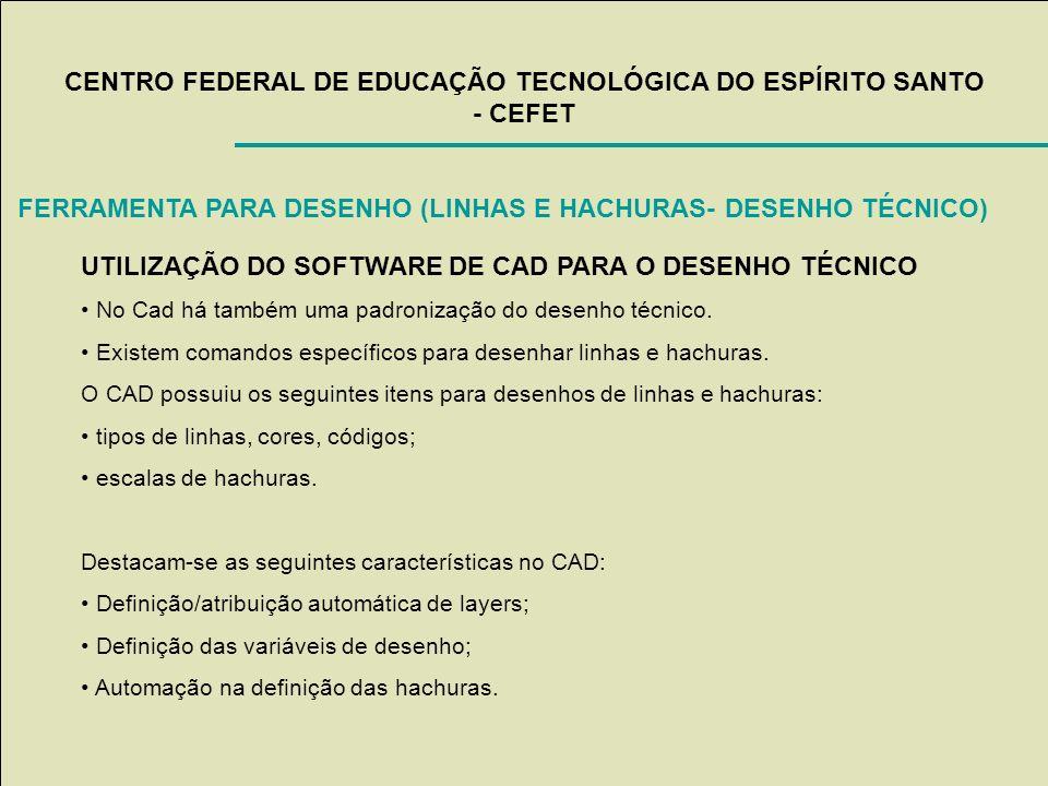 CENTRO FEDERAL DE EDUCAÇÃO TECNOLÓGICA DO ESPÍRITO SANTO - CEFET UTILIZAÇÃO DO SOFTWARE DE CAD PARA O DESENHO TÉCNICO No Cad há também uma padronizaçã