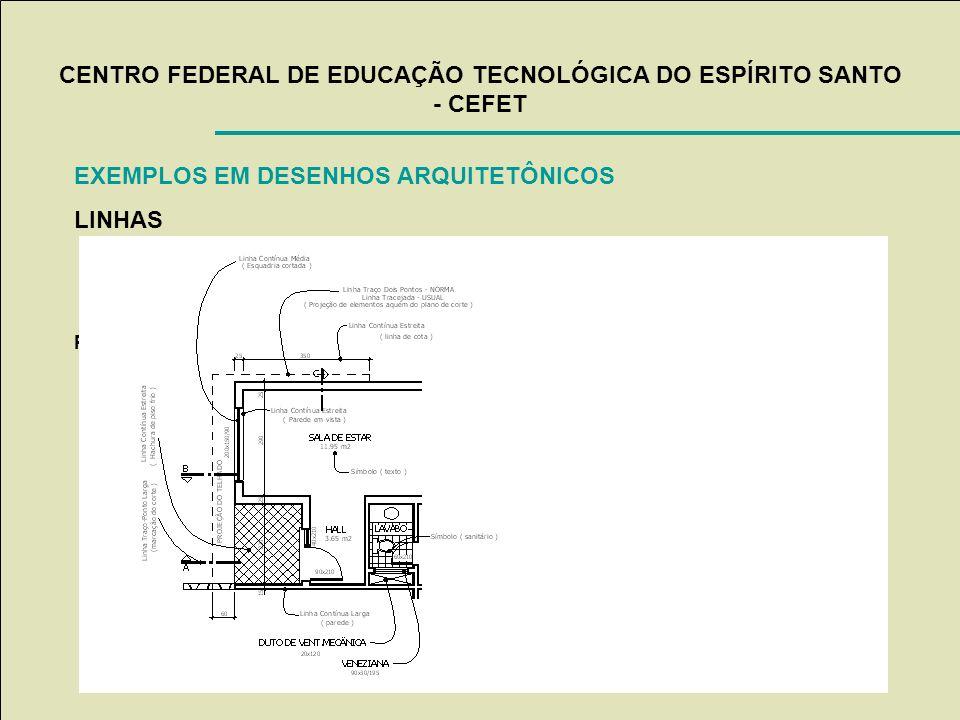 CENTRO FEDERAL DE EDUCAÇÃO TECNOLÓGICA DO ESPÍRITO SANTO - CEFET EXEMPLOS EM DESENHOS ARQUITETÔNICOS LINHAS Professor: Alfredo Henrique Caldas de Souz
