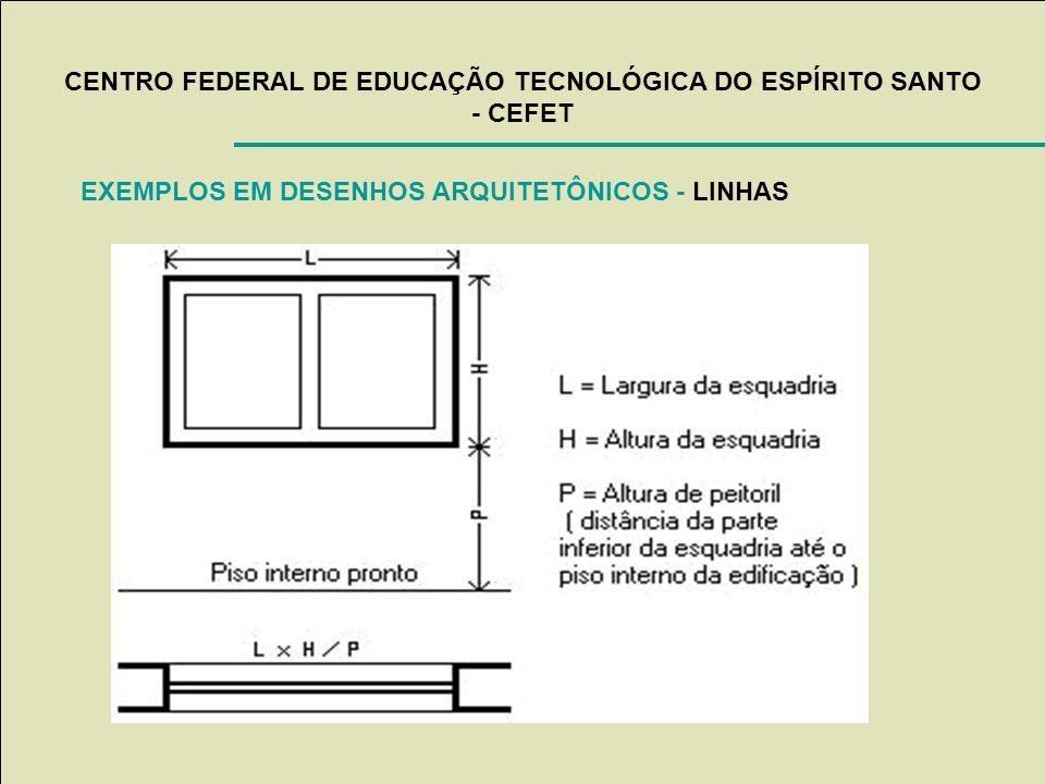 CENTRO FEDERAL DE EDUCAÇÃO TECNOLÓGICA DO ESPÍRITO SANTO - CEFET EXEMPLOS EM DESENHOS ARQUITETÔNICOS - LINHAS