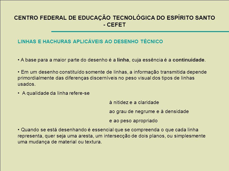 CENTRO FEDERAL DE EDUCAÇÃO TECNOLÓGICA DO ESPÍRITO SANTO - CEFET LINHAS E HACHURAS APLICÁVEIS AO DESENHO TÉCNICO A base para a maior parte do desenho