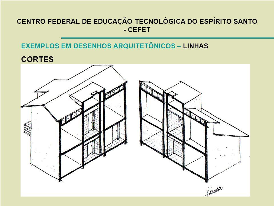CENTRO FEDERAL DE EDUCAÇÃO TECNOLÓGICA DO ESPÍRITO SANTO - CEFET EXEMPLOS EM DESENHOS ARQUITETÔNICOS – LINHAS CORTES